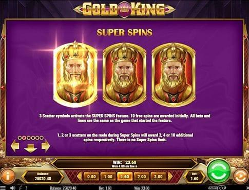 Призовая комбинация символов в игровом автомате Gold King