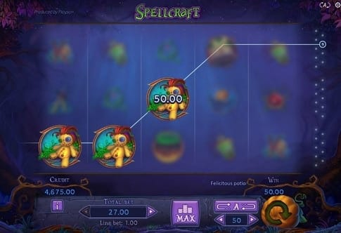 Комбинация символов на линии в игровом автомате Spellcraft