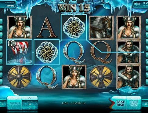 Призовая комбинация на линии в игровом автомате The Vikings